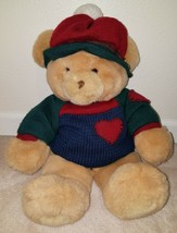 Commonwealth Brown Teddy Bear Plush Stuffed Animal Sweater Hat Blue Gree... - $39.55