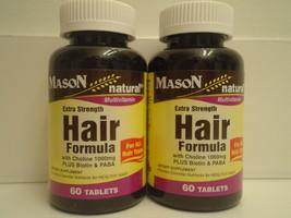 Natural Extra Strength Hair Formula 60 X 2 120 Tablets NIACIN FOLIC ACID... - $14.65