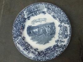 "Wedgwood Flow Blue Transfer-Ware Cows ""Horned Cattle"" Motif Dinner Plate - $39.57"