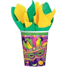 Mardi Gras Party Masquerade Mask 8 Ct 9 oz Paper Cups Hot Cold Beverages - $2.96