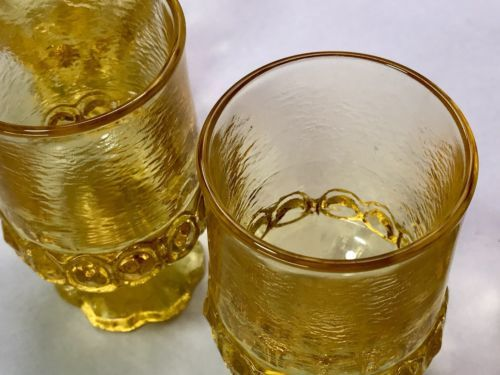 Vintage TIFFIN GLASS Franciscan Madeira Cornsilk JUICE GLASSES Yellow - SET OF 4