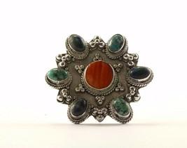 Vintage Flower Design Multi Gemstone Turquoise Ring 925 Sterling RG 3023 - $638,34 MXN