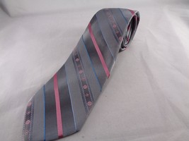 "Sears Mens Store Striped Tie 95% Polyester Pink Silver Necktie 57"" Long  3.25"" W - $10.68"
