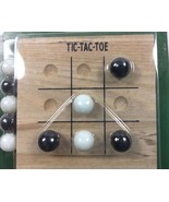 Tic Tac Toe Travel Size Solid Wood Board 10 Glass Marbles  4  x 4 Inch S... - $9.89