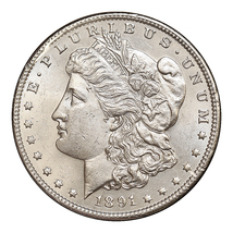 1891 P Morgan Silver Dollar - Gem BU / MS / UNC - $82.00