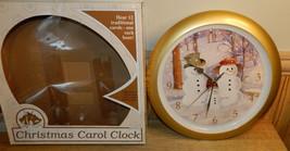 "Feldstein Christmas Carol Round Wall Clock 13"" Snowman Family 12 Carols  - $34.28"