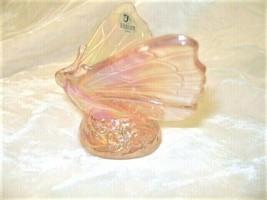Fenton Art Glass Light Pink Iridescent Butterfly  - $48.37