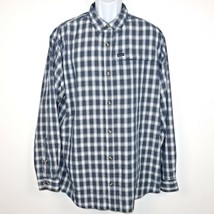 Columbia Omni Shield Plaid Button Front Shirt Men's XL Camping Hiking Navy Blue - $17.99