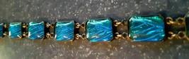 Antique Sterling Silver 1920s Payco Art Deco Bracelet Cobalt Blue Shiny ... - $73.50