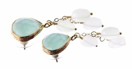 Wendy Mink NY Peruvian Calcite Top & Moonstone Cluster Drop Post Earrings NWT image 2