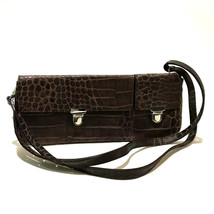 AUTHENTIC FURLA 2 WAY Croco embossing Shoulder Bag Clutch bag Brown Leather - $160.90 CAD