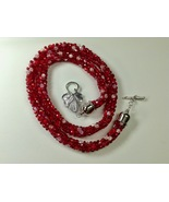 Necklace Beaded Kumihimo Autumn Red 25Inches Hand Woven Silver Leaf Togg... - $44.99