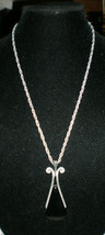 Large Vintage Avon Silver Toned Black Pendant Necklace - $19.80