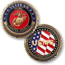 "MARINE CORPS VETERAN HONOR COURAGE COMMITMENT 1.75"" CHALLENGE COIN - $18.04"