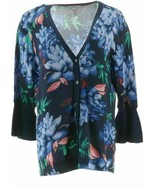 Isaac Mizrahi Live! Floral Printed Pleated Bell Sleeve Cardigan, Navy, XS - $44.54