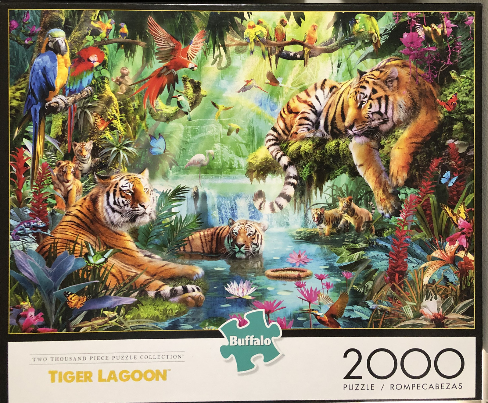 Buffalo Games Jigsaw Puzzle Tiger Lagoon 2000 Pieces 38.5 x 26.5 in. with Poster