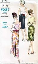 Vintage 1960's Misses' WRAP SKIRT Vogue Pattern 5972-s Waist Size 30 - $12.00
