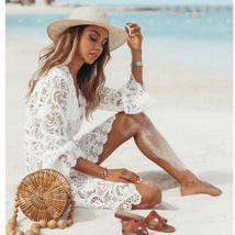 New Women's Sexy Floral Lace V Neck Long Sleeve Beach Sundress