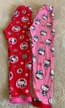 2 Hello Kitty Girls Red Pink White Bows Bears Snug Fit Pajama Pants 8 - $8.33