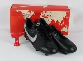 Vintage Anni 80 Nuova Nike Uomo 10 Euro Match pelle Scarpe Calcio Tacchetti Nero - $149.83