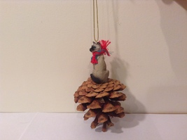 Siamese Cat Real Pinecone Pet Ornament Decoration with Red/Green Scarf, New image 4