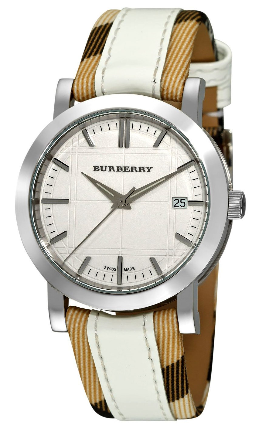 Burberry BU1379 Nova Check White Leather Strap Watch