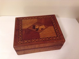 Vintage Inlay Scottish Terrier Two Scottie Dogs Wooden Box - $34.99