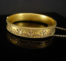 Antique Victorian Bracelet Rose and yellow gold filled wedding bangle hi... - $275.00