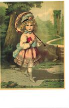 """PRINT   """"LATE 1800'S CHROMOLITHOGRAPH""""    LITTLE GIRL WALK TO SUNDAY SCH... - $60.00"""