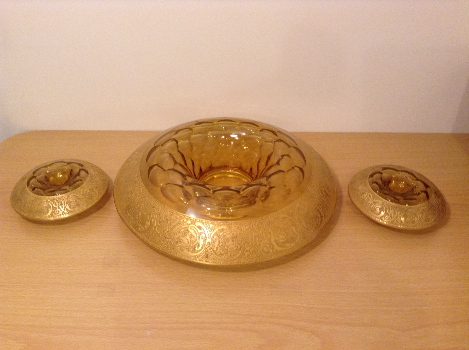 Primary image for Vintage Unique Gold Overlay Centerpiece Set of 3 Formal Table Candle Holders