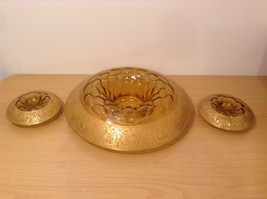 Vintage Unique Gold Overlay Centerpiece Set of 3 Formal Table Candle Holders