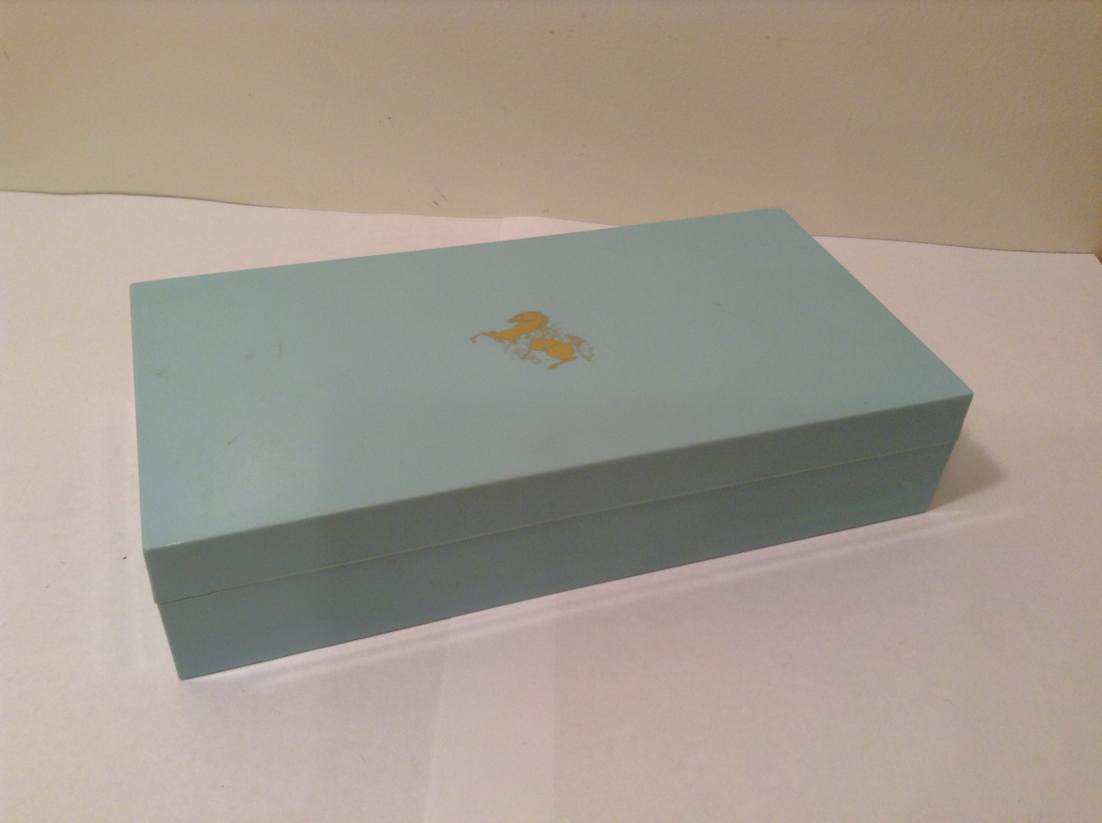 Vintage Elizabeth Arden Turquoise Plastic Box with Molded Gold Horse