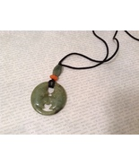 Natural Jade Kissing Moons Stone Pendant Necklace Deep Green and Orange - $34.99
