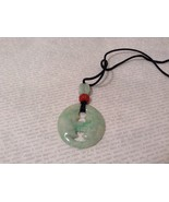 Natural Jade Kissing Moons Stone Pendant Necklace Light Green and Orange - $34.99