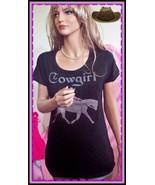 L XL Black Cowgirl WESTERN PINK Rhinestone Horse Rider T-Shirt Top Shirt... - $19.99
