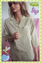 M  VINTAGE Beige Checked 3/4SLV Shirt Women Button Down Career Tunic Top... - $18.99