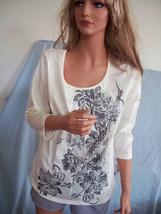 MEDIUM 8 10  T Tee Shirt Pullover  GOLD STUDS CREAM GRAY BLACK FLORAL TU... - $12.99
