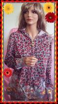 M Medium City Hearts Full Zipper Gray Leopard Floral Spring Print Hoodie Jacket  - $39.99