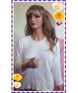 EUC S M L Cream Ivory Cherokke Career VTG Stretch Knit Shirt Pullover Bl... - $12.99