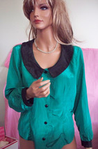 L  VINTAGE  Green Black Shirt Women Button Down Polyester Holiday Career... - $19.99
