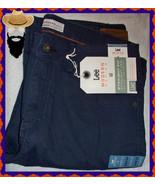 NEW $58 LEE 34 X 34 Navy Dress Straight Fit & Leg Flat Front Cotton Jean... - $32.99