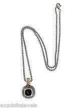 David Yurman Sterling Silver Solid 14K Yellow Gold Onyx Enhancer Pendant - $398.99