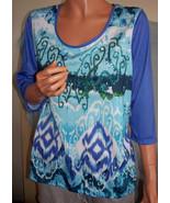 Ret$32 MEDIUM T/O Thomas & Olivia T-Shirt Pullover Blue Purple Sequin TU... - $19.99