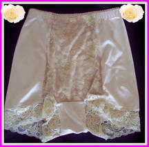 Small Rhonda Shear Beige Gold Metallic Lace Control Brief Panties Boyshort - $9.99