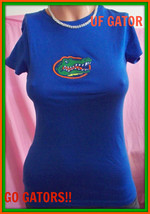 XL Woman Junior Blue UG Gator Embellished Embroidery Long Length Fited T... - $9.99