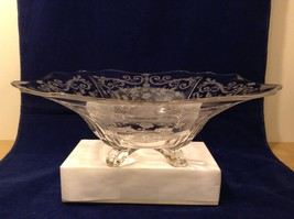 Vintage Fostoria Display Bowl Clear Glass Floral Design Four Footed