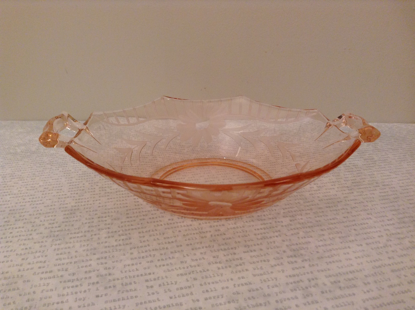 Small Candy Dish with Two Handles Pink Depression Glass Floral Engraving