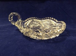 Vintage American Brilliant Lead Crystal Candy Dish / Bowl / Candle Holder