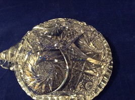Vintage American Brilliant Lead Crystal Candy Dish / Bowl / Candle Holder image 9