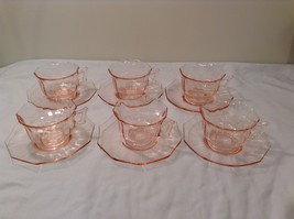 Vintage Pink Depression Glass 6 person Tea Set (cups and saucers)